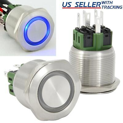 25mm Latching Push Button Power Switch Stainless Steel W Blue Led Waterproof