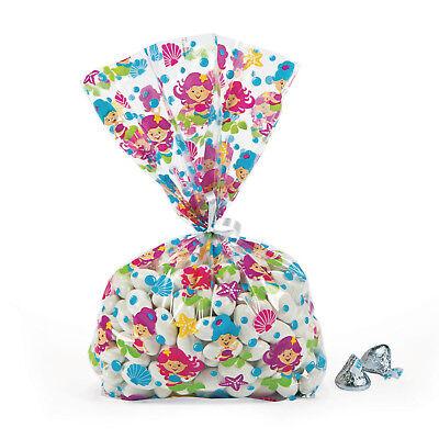 24 Beautiful Mermaid CELLOPHANE birthday Party favor loot bags