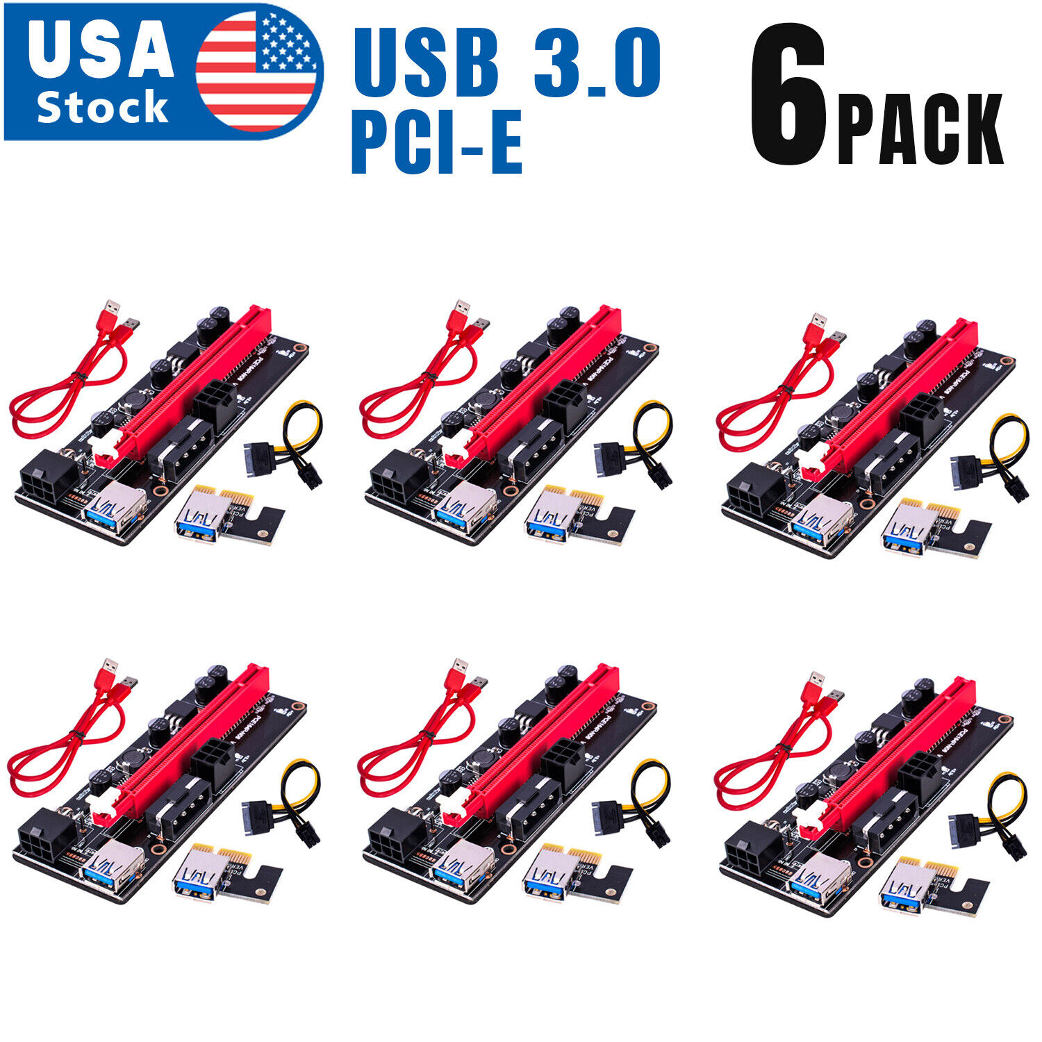 6PACK PCI-E 1x to 16x Powered USB3.0 GPU Riser Extender Adapter Card VER 009s Computer Cables & Connectors