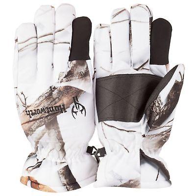 Fleece Hunting Gloves (Huntworth Waterproof Snow Camo Fleece 40G Gloves  Oak Tree Hunting Camo )