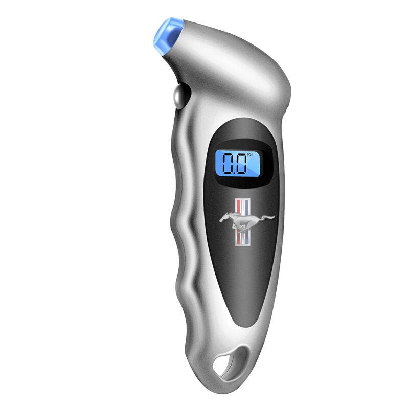 Mustang Tri-Bar Silver Digital Tire Pressure Gauge with LED-Backlit LCD Display