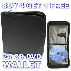 24 CD DVD Blu-Ray Discs - Storage Wallet Holder Carry Case Sleeves Box Organizer