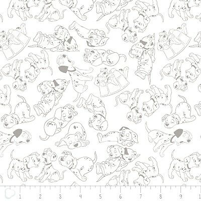 Disney Fabric - 101 Dalmatians Gray Outlines on White - Camelot Cotton YARD for sale  Shipping to India