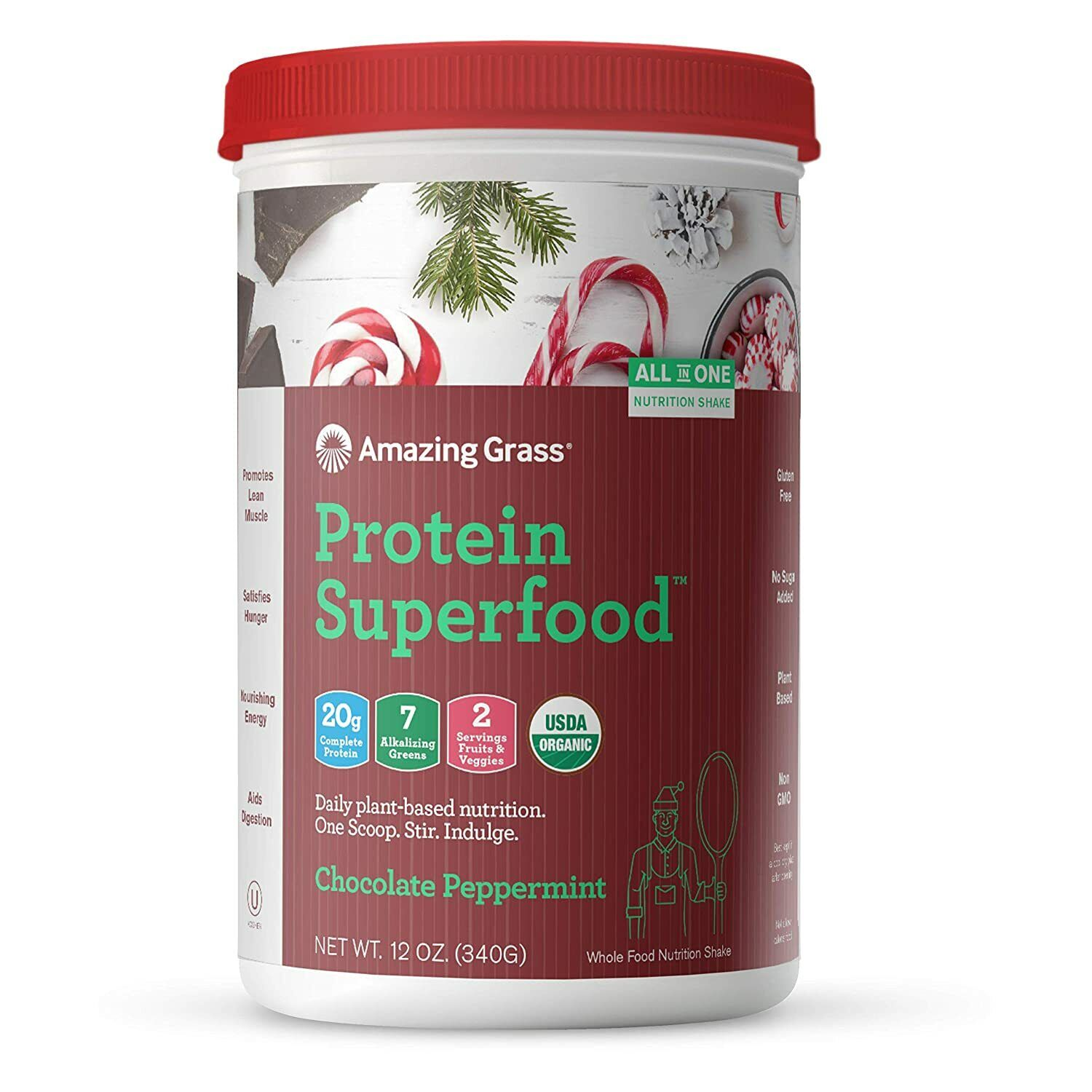 Amazing Grass Superfood organic Vegan Protein Powder Chocolate Peppermint Flavor