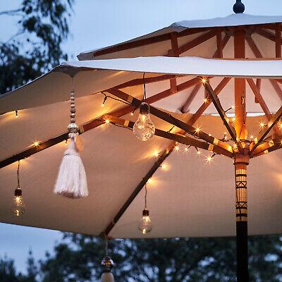 80 LED Lichterkette Sol Sombrilla Parasol Jardín Exterior Batería Temporizador