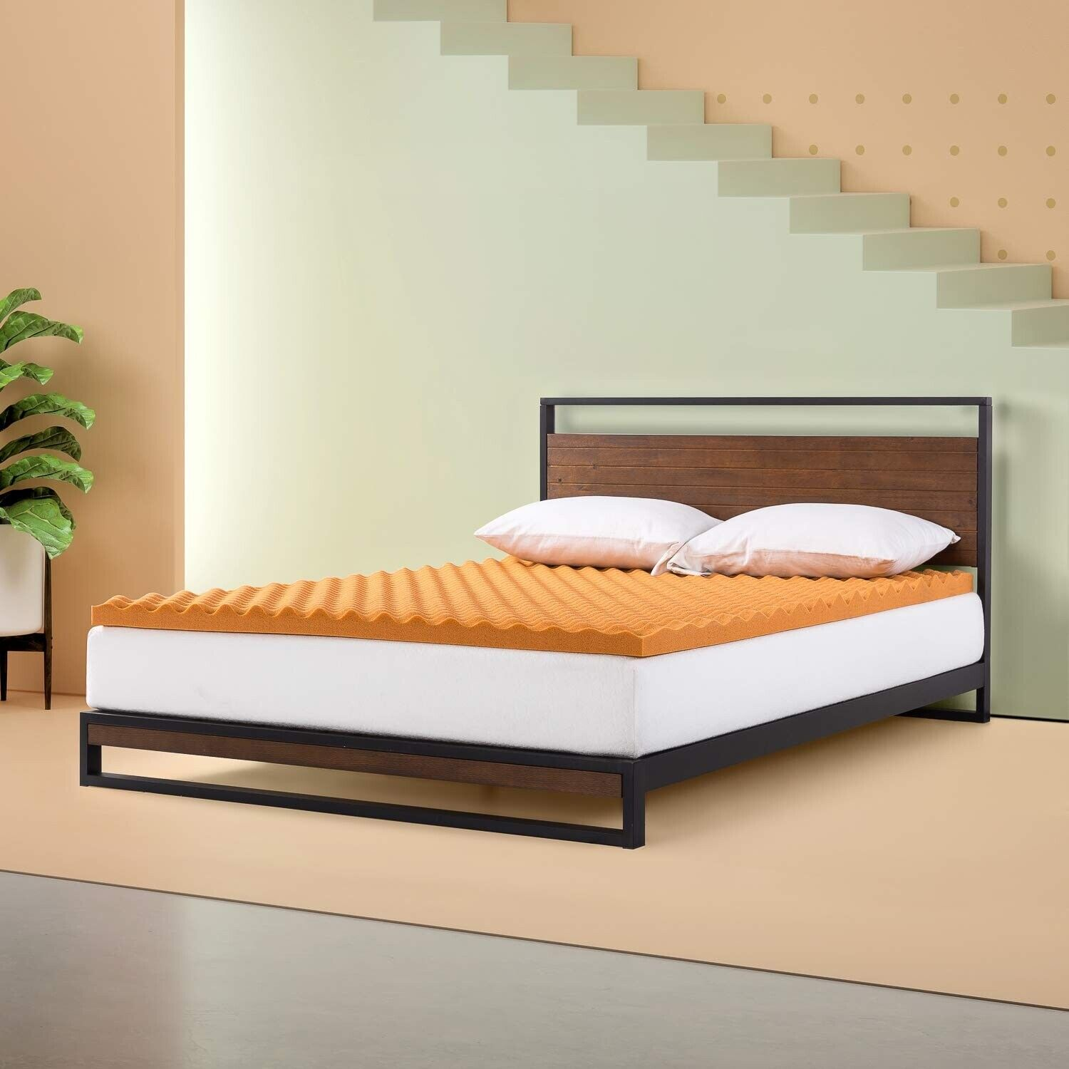 Zinus - 2 Inch Cooling Convoluted Copper Memory Foam Mattres