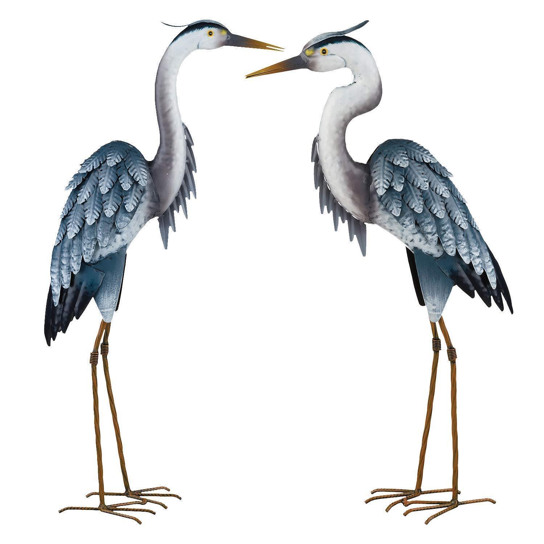 Blue Heron Pair Metal Garden Statue Coastal Crane Bird Yard Art Sculpture |  eBay