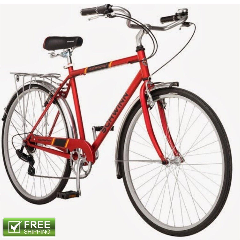 Schwinn Retro Bike 700C Men's Red Hybrid Bicycle City Cruiser Commuter Shimano