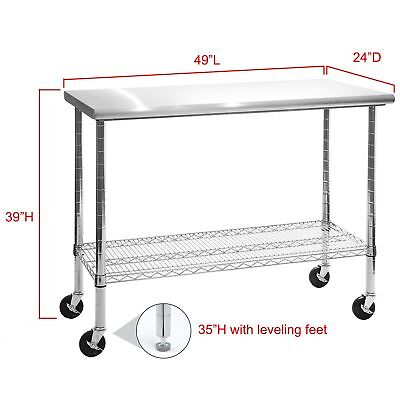 "Rolling Stainless Steel Top Kitchen Work Table Cart + Casters Shelving 24"" x 49"""