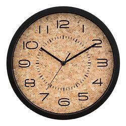 404-3832 La Crosse Clock Company 12 Felix Open Face Cork Analog Wall Clock