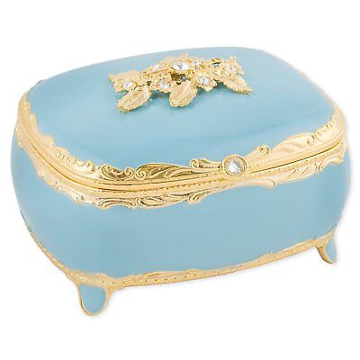 Blue With Swarovski Crystals And Gold Accents Metal Jewelry Music Box