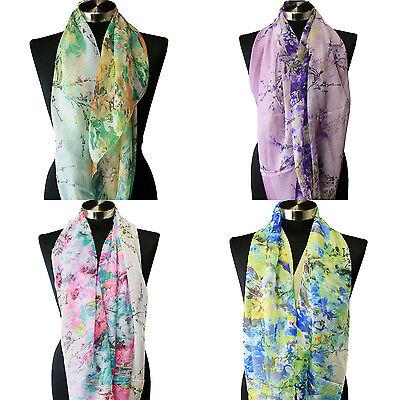 Sheer Infinity Scarf Floral Viscose Hijab Snood Cowl Shawl Spring Chiffon US New