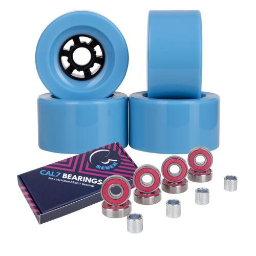 Cal 7 83mm 78A Longboard Flywheel Skateboard Wheels Light Blue + ABEC-7 Bearings