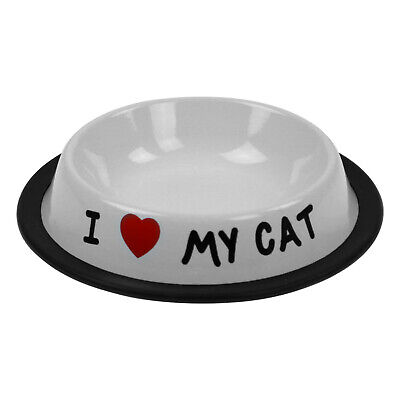 I love My Cat Pet Stainless Steel Saucer Food Water Dish Bowl Pet Feeding Plate