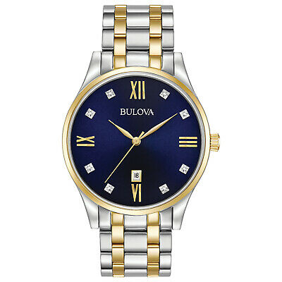 Bulova Men's Diamond Accents Quartz Blue Dial Gold Tone 40mm Watch 98D130