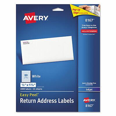 Avery Easy Peel Return Address Labels Inkjet 12 X 1 34 White 2000pack 8167