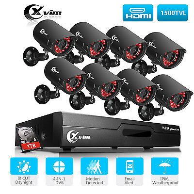 XVIM 8CH 1080P HDMI DVR P2P Outdoor 1500TVL CCTV Home Security Camera System 1TB