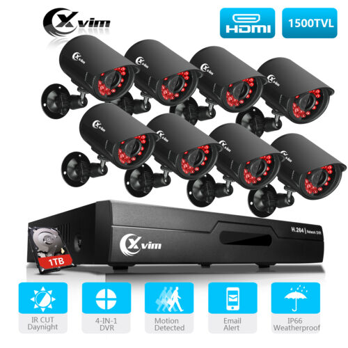XVIM 8CH 1080P HDMI DVR P2P Outdoor 1920TVL CCTV Home Security Camera System 1TB