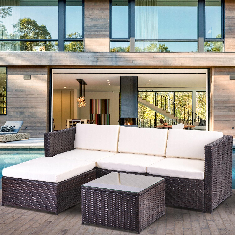 Garden Furniture - Garden Rattan Furniture Set 5 PCS Patio Outdoor Lounge Sofa Set Coffee Table