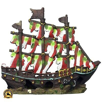 Aquarium Shipwreck Large Decorations Sunken Ship Pirate Fish Tank Ornaments NEW