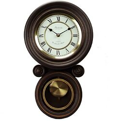 Bedford Clock Collection Contemporary Round Wall Pendulum Clock 4 Chime Modes
