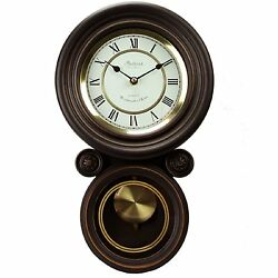 Bedford Clock Black Oak Home Office Round Wall Pendulum Clock 4 Chime Modes