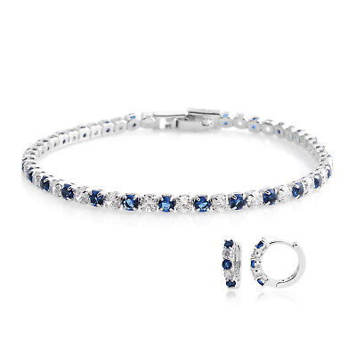 "Created Sapphire Silvertone Huggie Earrings Tennis Bracelet 7"" Gift Jewelry Set"
