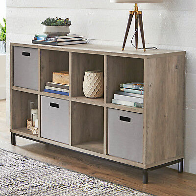 RUSTIC GRAY CONSOLE TABLE TV STAND CUBE STORAGE ORGANIZE DISPLAY METAL BASE ()