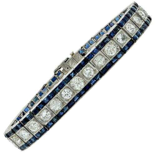 Vintage Art Deco Style Inspired Diamond & Blue Sapphire Line 925 Silver Bracelet