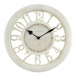 "Antique Shabby Chic 11.5"" Round White Floating Dial Quartz Glass Lens Wall Clock"