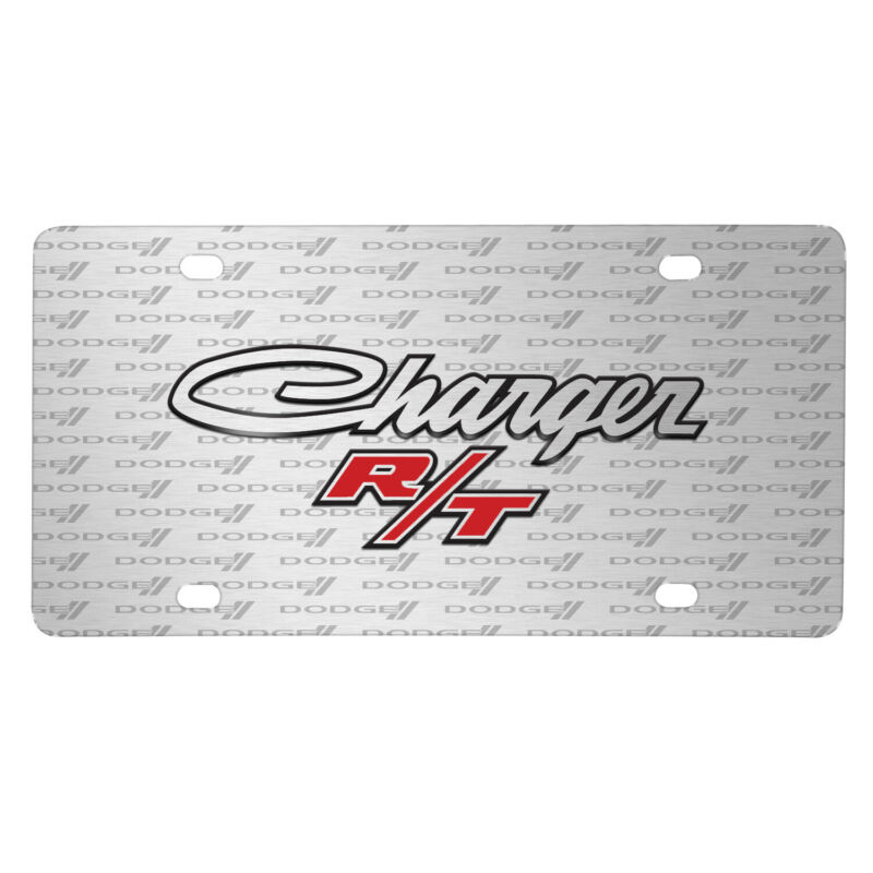 Dodge Charger R/T Classic 3D Logo on Logo Pattern Brushed Aluminum License Plate