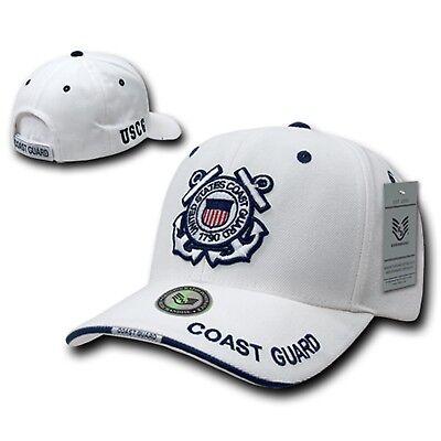 White United States Coast Guard USCG Military Embroidered Baseball Ball Cap Hat  Guard White Hat