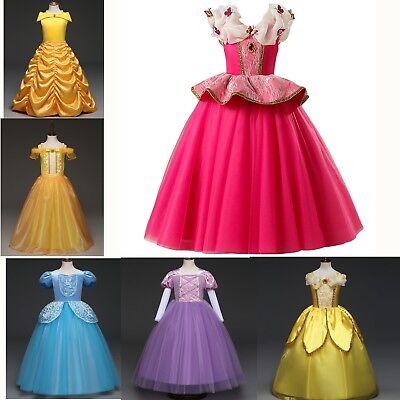 Aurora Belle Elsa Anna Cinderella Princess Dress Kid Grils Cos Halloween - Cinderella Halloween Costume Child