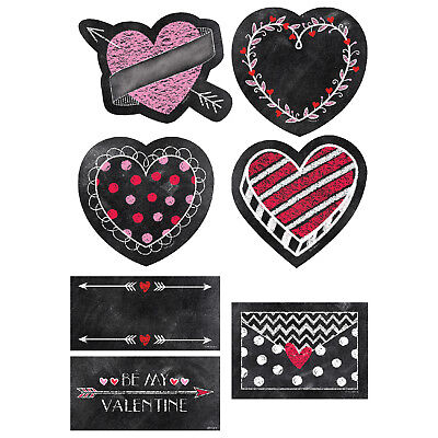 CTP 6076 Chalk It Up Hearts Valentines Cut Outs Classroom Decorations (Valentine Classroom Decorations)