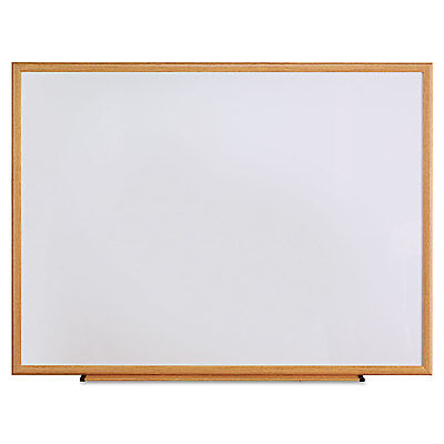 Universal One Dry Erase Board Melamine 48 x 36 Oak Frame 43618