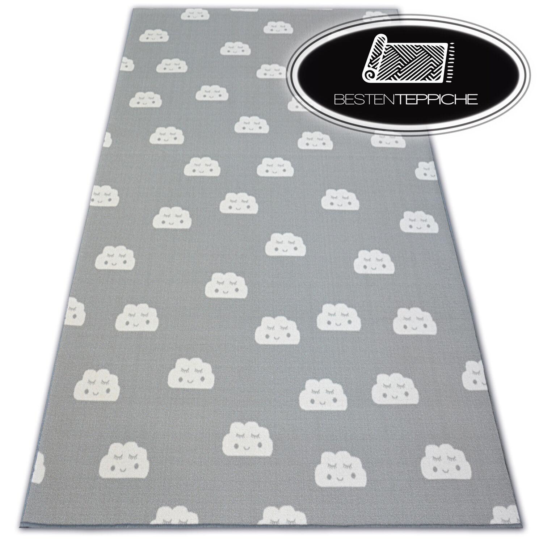 Antirutsch Teppichboden für Kinder Clouds grau Schlafzimmer alle Größen