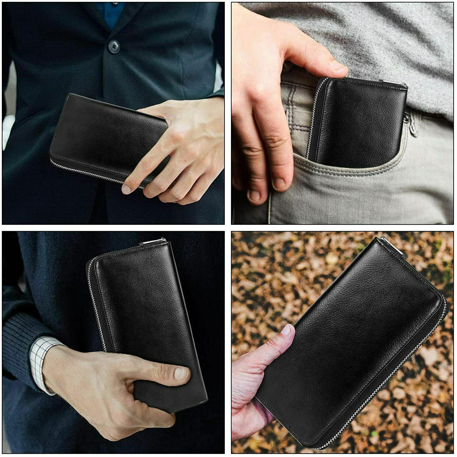 Womens RFID Blocking Leather Wallet Long/Short Zipper Card Holder Case Bag US Clothing, Shoes & Accessories