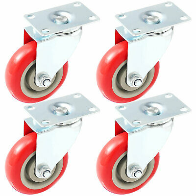 4 Pack 4 Inch Caster Swivel Plate On Red Polyurethane Wheels Pu