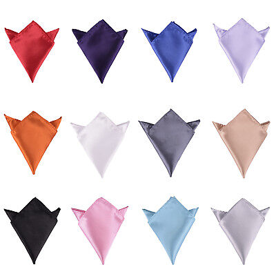 Set of 12 Pcs Mens Solid Mixed Color Pocket Squares Wedding Handkerchiefs