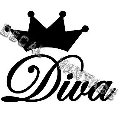 Diva Stickers (Diva Text Crown Vinyl Sticker Decal Queen Princess - Choose Size &)