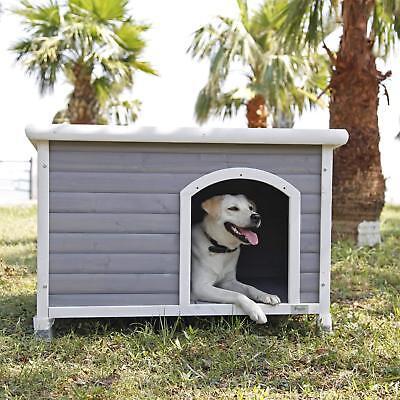 Outdoor Dog House Cubby Pen Puppy Stall Home Weatherproof Raised Floor Kennel (Outdoor Dog Kennel Floor)