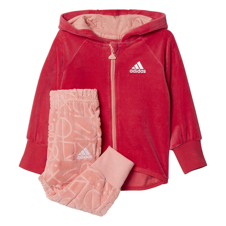 Adidas Mädchen Rosa & Pfirsich Weiches Velours Trainingsanzug Reißverschluss Set