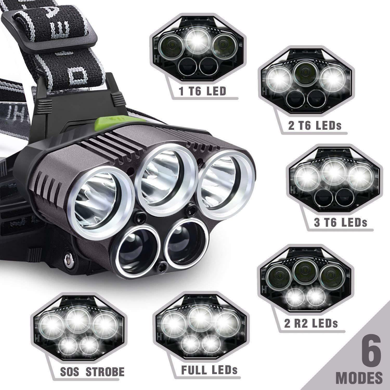2x Akku Hell 90000LM stirnlampe T6 CREE LED Kopflampe FACKEL USB Taschenlampe