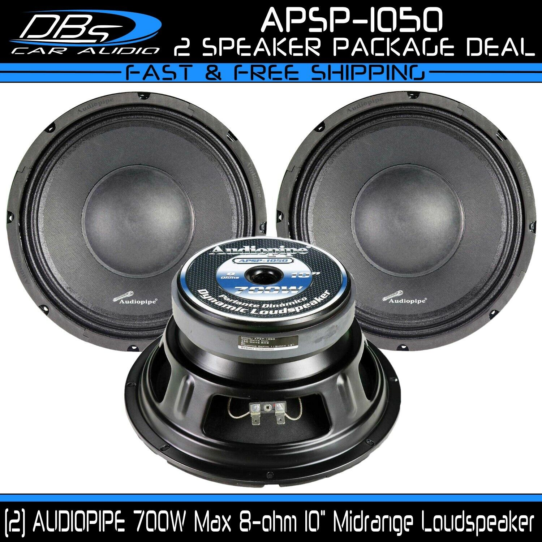 "10"" Midrange Speaker 8 ohm Pro Car Audio Mid Bass 1 Pair AUD"