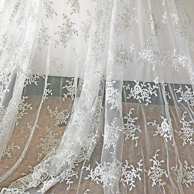 Elfenbein Stickereien Brautkleid Stoff Blüte Brautkleid Kostüm DIY Spitze 0.5 Y
