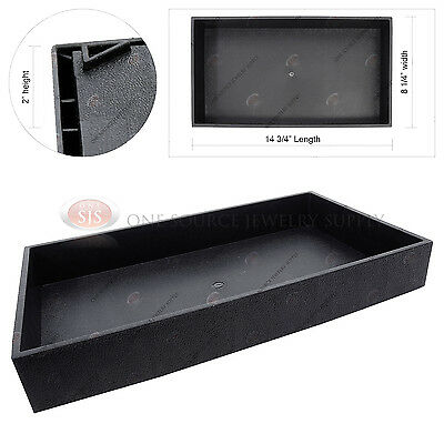 2 Deep Black Plastic Display Tray Jewelry Storage Stackable Travel Organizer