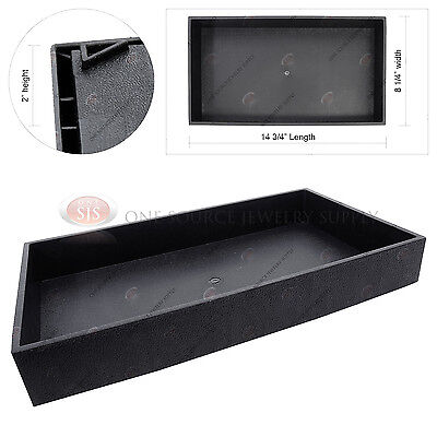 "2"" Deep Black Plastic Display Tray Jewelry Storage Stackable Travel Organizer"