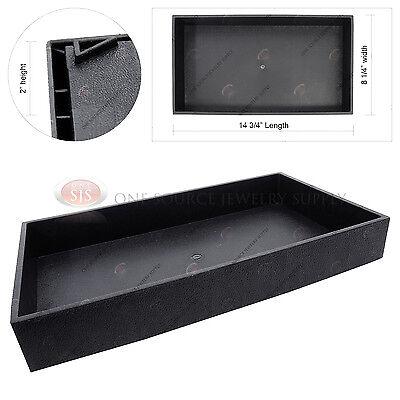 "2"" Deep Black Plastic Display Tray Jewelry Storage Stackable Travel Organizer"