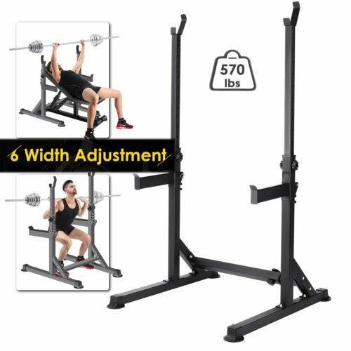 Adjustable Gym Fitness Barbell Rack Stand Squat Rack Bench P
