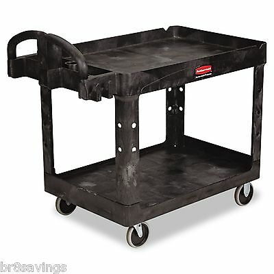 New Heavy Duty Utility Cart Large 2 Shelf Swivel Caster Wheels Rubbermaid Black